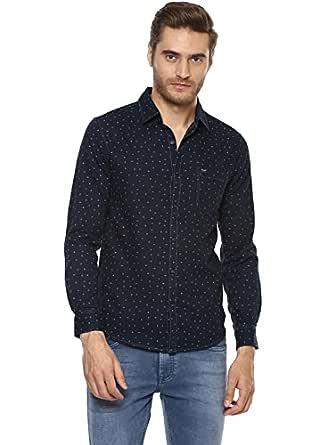 Mufti Men's Printed Slim Fit Casual Shirt (MFS-9332-G_Navy_M)