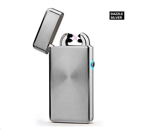 Aokvic USB elektronisches Feuerzeug aufladbar lichtbogen (Silber)