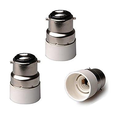 FINELED 3-Pack B22 to E14 Light Adapter Socket Base Converter,BC Cap B22 To E14 ES Edison Screw Light Bulb Lamp Base Socket Converter Extender Adaptor Holder Fitting by AP