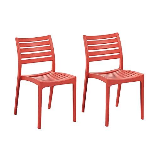 XXHDYR Moderne Freizeit Plastik Esszimmerstuhl Restaurant Schreibtisch Stuhl Kunststoff Stuhl Tasche 2er Set Stapelstuhl (Color : Red)