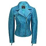 Xposed - Giacca da Motociclista da Donna, in Vera Pelle, Stile Vintage, Taglia 39-46 Blu Frozen. S