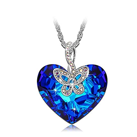 J.NINA Butterfly Love SWAROVSKI crystals Pendant Women Necklace Blue Heart Jewellery Birthday Gifts Valentines Gifts Mothers Day gifts Christmas Gifts Anniversary Wedding Gift for Wife Mother girl