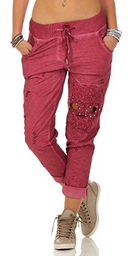 206 Damen Hose leichte Freizeithose Stoffhose mit Stickerei Totenkopf  - Rot (viele Farben erhältlich)