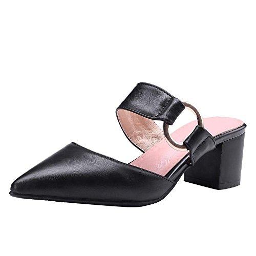UH Damen Chunky Heels Pantoletten mit Spitz Slingback Slipper 5cm Absatz Schuhe Chunky Heel Slingbacks