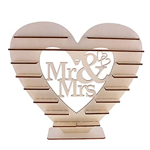 Gazechimp Coeur Support en Bois Mr & Mrs Stand Affichage à Chocolat Bonbon Dragées Décoration Réception Mariage