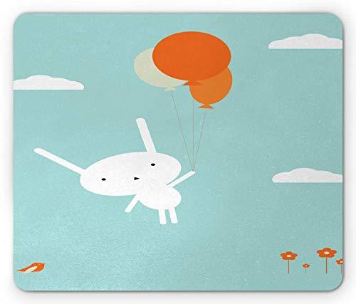 Häschen-Mausunterlage, weißes Kaninchen, das die Ballone fliegen zum Himmel hält, blüht Vögel und Wolken, rutschfestes Gummimousepad des Standardgrößen-Rechtecks, hellblaues orange Weiß,Gummimatte 11, -