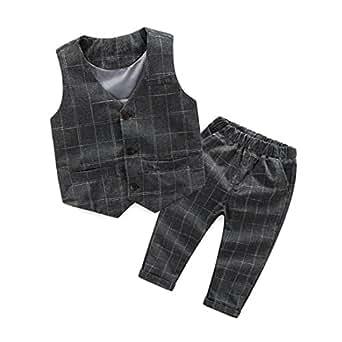 Hunpta Kinder Baby jungen Gentleman Anzug Sets karierte Weste Tops + lange Hosen Hosen Outfits (100CM, Gray)