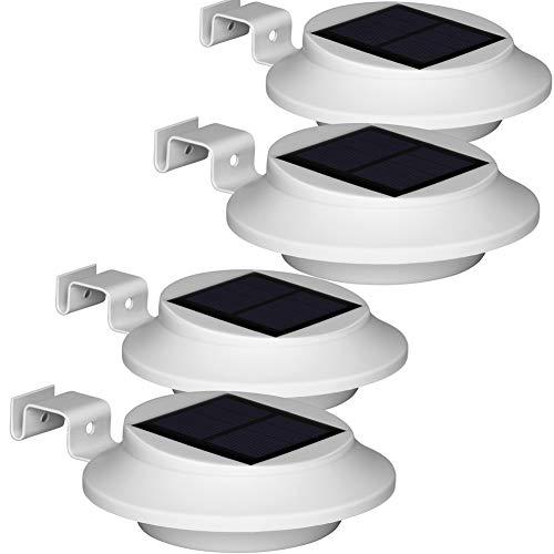 BILLION DUO Upgrade LED Dachrinnenlampen, 6 LEDs Weiße Solarleuchten, Kaltweiß Licht Solarlampe Garten für Haus, Zaun, Garten, Garage und Gehweg Beleuchtung,4 Stück