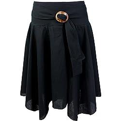 GURU-SHOP, Rock Boho Chic con Hebilla de Coco, Negro, Algodón, Tamaño:38, Faldas Cortas