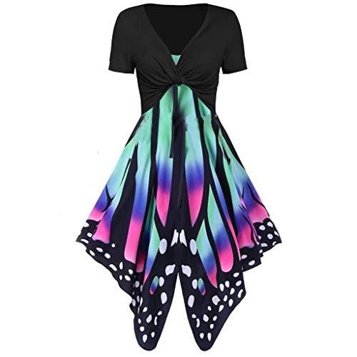 Auied Frauen Sommer frisch Schmetterling Print Hohe Taille Kleid Sling Set Cardigan Zweiteiliges Set - Kaiser Schmetterlings Kostüm