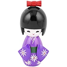 Madera tradicional kimono japonés de la muñeca de Kokeshi turística ornamento púrpura