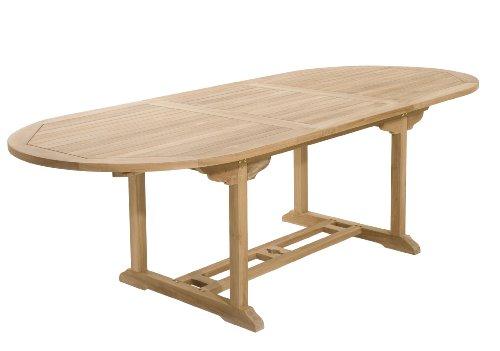 MACABANE 500894 Table Ovale Extensible Couleur Brut en Teck Dimension 180/240cm X 100cm X 75cm