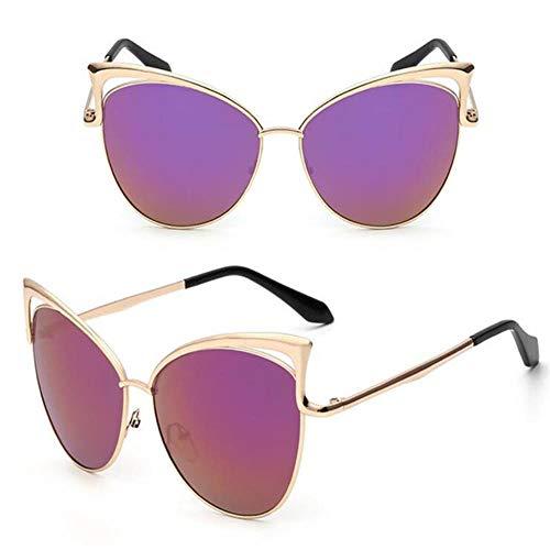 QG Ypdes Damen cat Eye Sonnenbrille Frauen Sonnenbrille Legierung Rahmen uv400 Schutz Designer Retro cat Eye Brille, lila