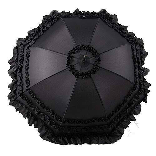 MAXJCN Regenschirm Langer Griff Hochzeit Brautjungfer Lace Automatic Umbrella (Color : Black)
