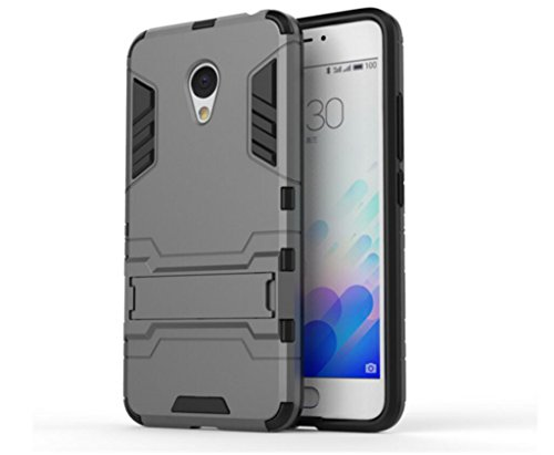 Bllosem Meizu M3 Note Hülle Hybride Dual-Layer PC+TPU Kompletter Schutz Standfunktion Tasche für Meizu M3 Note Grau