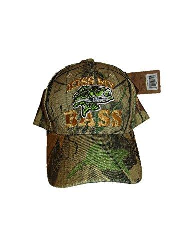 Kiss My Bass Fisch Angeln Woodland Camo Camouflage bestickt Cap Hat Bass Camouflage Cap