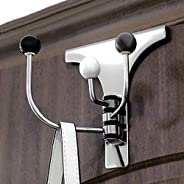 Multifunction Stainless Steel Over Door Organizer Hooks for Coats, Hats, Robes, Clothes or Towels - 3 Hooks