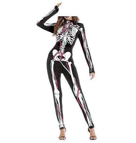 DOXMAL Frauen Mädchen Halloween Kostüm Anzug 3D Skeleton Skin Kostüm Knochen Kostüm Overall Cosplay - Super Kostüm Skins