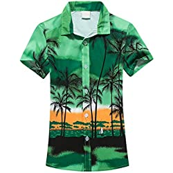 df87d8dde0 Camisa Hawaiana para Hombre Shirt de Manga Corta Estampados de Palmeras