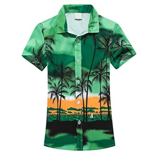 UJUNAOR Sommer Frauen Revers Hemd für Urlaub Hawaiian Drucken Strand Kurzarmhemd(Grün,EU S/CN M)