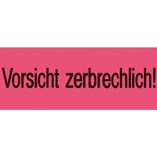 Herma 6758 Leucht-Versandzettel mit Warnhinweis Aufdruck Vorsicht zerbrechlich (39 x 118 mm) 1.000 Stück, rot