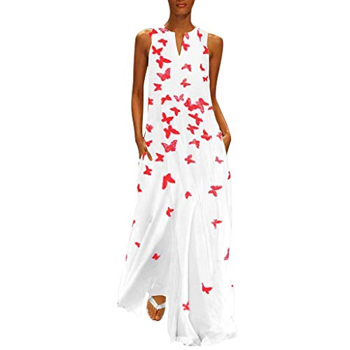 Fenverk Damen Lange Kleider Sommerkleid Leinenkleid Mode Tops Vintage Print Stickerei Oansatz Plus Größe Taschen Maxi Dress Einfarbig Bluse (C Weiß,XXL)