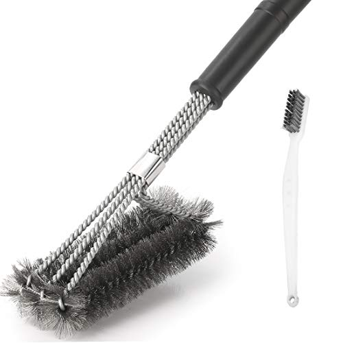 Grill Brush Cleaner Best BBQ Wire Bristles Brush 18 inch Stainless Steel Barbecue Grill Cleaning Brush 3 in 1 Barbecue Tools for Heavy Duty Grill Cleaner Best Barbecue Brushes(Black) (Black1)