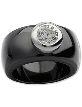 LuxXL Keramikring schwarz pol. mit Kristall Stein (CR100BP)