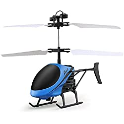 letter,Volando mini helicóptero RC infrarrojos de inducción aviones parpadeando juguetes de luz para niños (Azul)