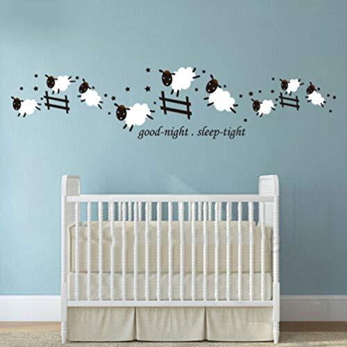 Cartoon Graf Schafe Gute Nacht Vinyl Wandaufkleber Aufkleber Kinderzimmer Baby Kindergarten für Schlafzimmer, Wohnzimmer, Kinderzimmer -