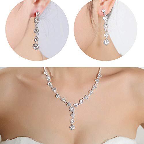 Jovono - Conjunto collar pendientes colgante diamantes