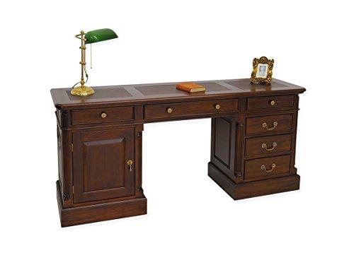 Schmaler Schreibtisch Antik Stil Echtlederauflage