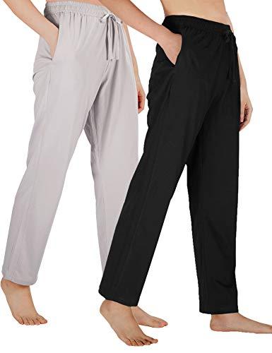 WEWINK CUKOO Damen Pyjamahose Baumwolle Schlafhose Stretch Knit Loungehose mit Taschen - Mehrfarbig - Small=US 4-6 -
