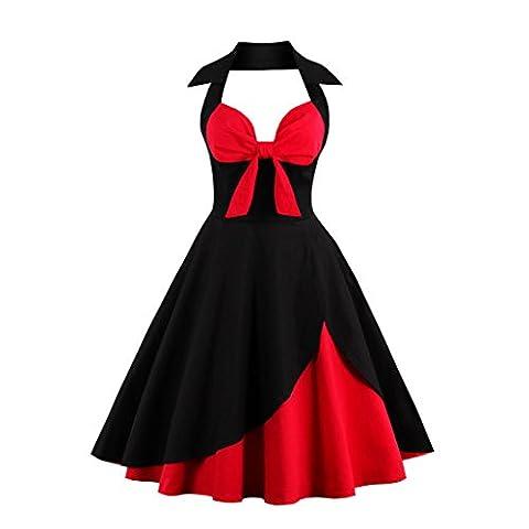 Kilolone Women 50s Retro Halter Neck Classy Sleeveless Swing Evening Dress Black /Red 14