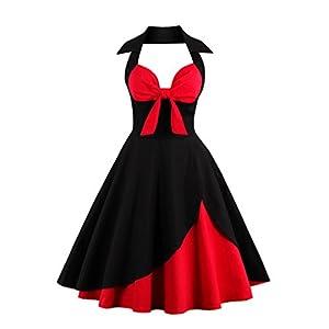 VERNASSA retrò Stile Halter Vintage 1950 Audrey Hepburn Vestito Donne, Abiti in Cotone a Pois con Scollo a Cuore, al Collo di Polka Dots Casual Cocktail Vestito