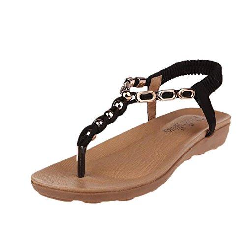 LUCKYCAT Prime Day Amazon, Sandales d'été Femme Chaussures de Été Sandales à Talons Chaussures Plates Bohême Crystal Fond épais Bande élastique Chaussures de Plage 2018 (37EU, Beige)