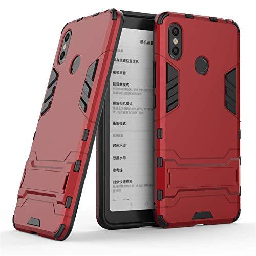 CHcase Xiaomi Mi Max Caso 3, estilo 2 1 Armadura em durável Dual Layer híbridos Armadura Defender casos de TPU + PC caso capa com suporte [caso à prova de choque] para Xiaomi Mi Max 3 -Red