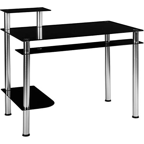 STILISTA Glas Computertisch, Varianten: Klarglas und Schwarzglas, 108cm x 62cm x 93cm, 8 mm Sicherheitsglas, Aluminium Tubes, 4 Ebenen