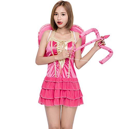Für Erwachsene Kostüm Cupid - FHSIANN Halloween weibliche Frauen Cupid Kostüm Naughty Pink Layered Outfit Short Sweet TieredKleid Phantasie Kleidung Flügel Set für Teen Girls