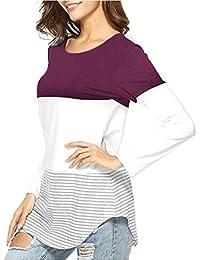 Langarmshirt Damen Sweatshirt Pullover Blusen Patchwork Stretchy Oberteile  Bluse Festliche Langarm Shirt Lange Hülsen T- 264c651b86