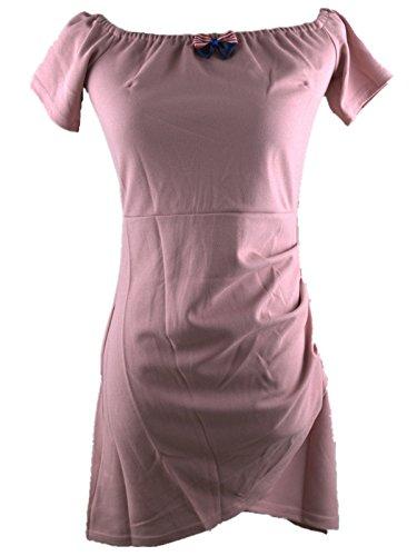 EMIN Damen kleid Sommer Kurz Festlich Elegant Sexy Kleider Partykleid Aufrechtzuerhalten Rosa Chiffon Rosa5