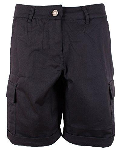 NOROZE Women's Cotton Combat Cargo Chino Shorts, Black, 20