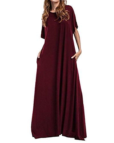 Kidsform Women Maxi Dress Long/Short Sleeve Baggy Ball Gown Solid Pocket Party Long Dresses Kaftan