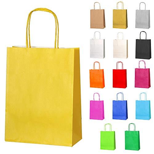 Thepaperbagstore 10 Papiertüten für Partys und Geschenke mit Griffen - Gelbe - 180x220x80mm