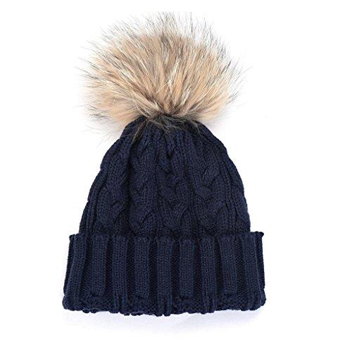 FEITONG Las mujeres del invierno del sombrero del ganchillo Piel Lana tejer Beanie casquillo caliente del mapache (azul marino)