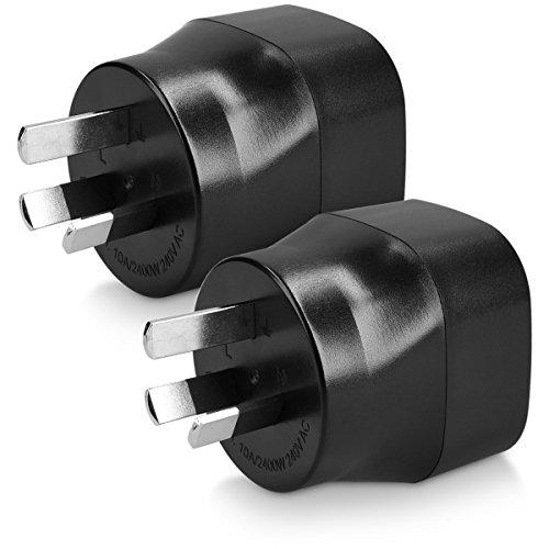 kwmobile 2 Adaptadores de Viaje Australia Tipo I - 2X Adaptador Enchufe schuko - Conector AU Nueva Zelanda China - Conectores de enchufes Color Negro
