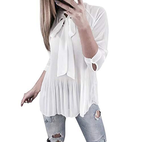 NPRADLA 2018 Damen Bluse Langarm Elegant Frauen Einfarbig Plissee Bow Knoten Casual Tops Shirt Mode T Shirt