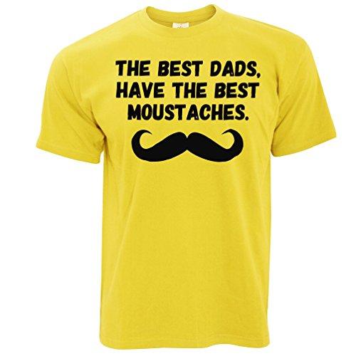 Die besten Väter haben die besten Schnurrbärte. Herren T-Shirt Yellow