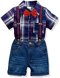 dd8275d11 ZOEREA Bebé Niño Conjunto de Ropa de 4 Piezas Camisetas Rayadas de Manga  Corta con Pajarita + Vaquero con Tirantes Ajustables Pantalones Bebés…