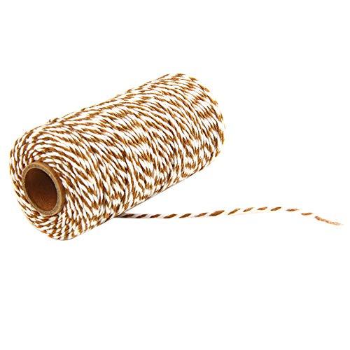 MoGist 100m Baumwollseil 2mm Bäcker Bindfäden Bastelschnur Schnur String Kordel Garten Geschenk Etiketten Seil für DIY Handwerk Bindfäden Dekoration (Braun + Weiß)